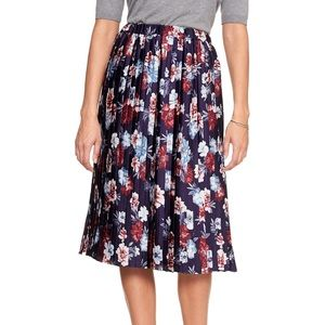 Banana Republic pleated navy floral midi skirt NEW